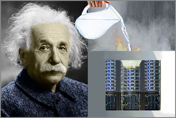 Why is Einstein letting them pour liquid all over computer electronics?